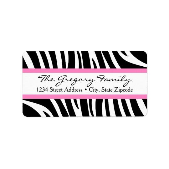 Return Address Labels │ Zebra Print Pink