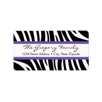 Return Address Labels │ Zebra Print Purple