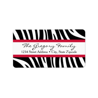 Return Address Labels │ Zebra Print Red