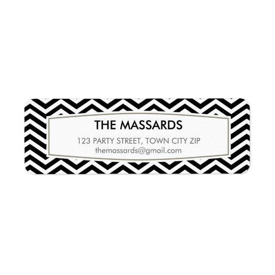 RETURN ADDRESS modern chevron pattern black white
