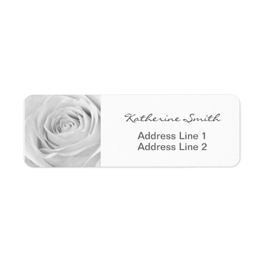 Return Address Nature Floral Photo White Rose