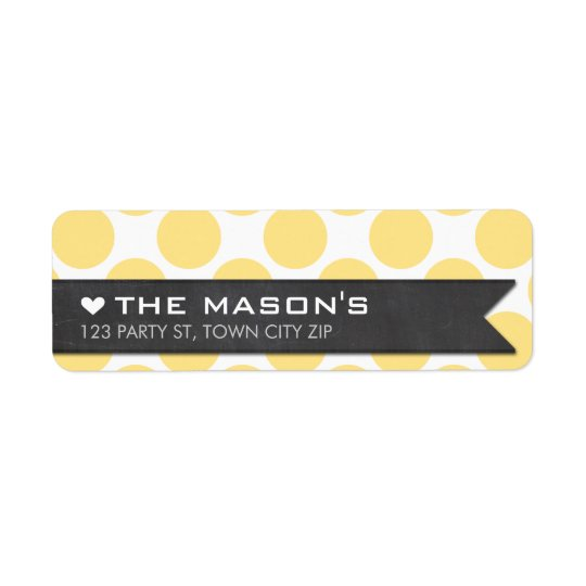 RETURN ADDRESS polka dot yellow chalkboard flag Return Address Label