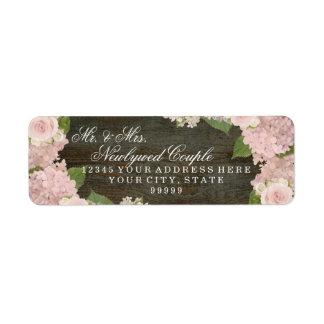 Return Address Small Dark Wooden Pink Hydrangeas
