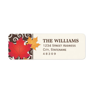 Return Address Sticker | Fall Leaves Theme Return Address Label