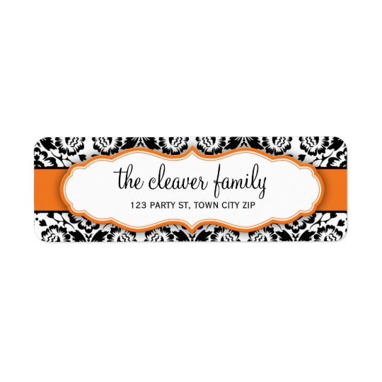 RETURN ADDRESS stylish damask black bright orange