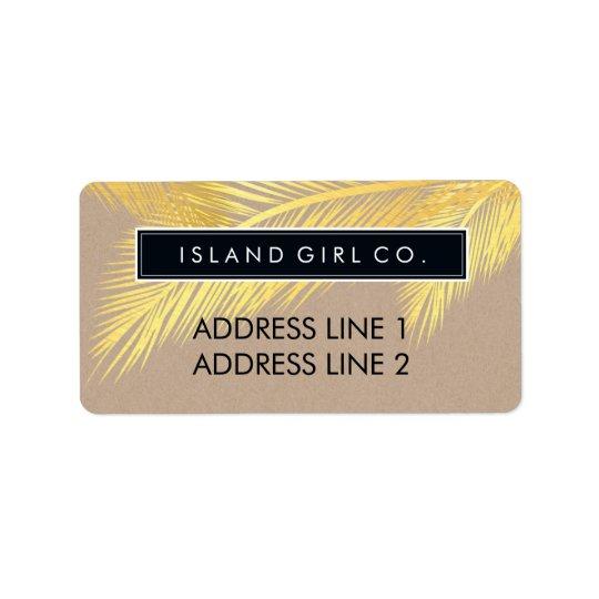 RETURN ADDRESS tropical palm fronds gold kraft Label