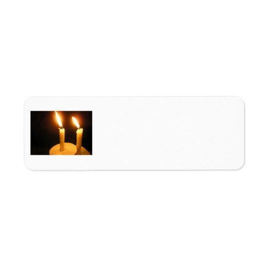 Return Address - Twin lit candles Return Address Label