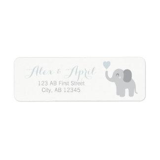Return Label Baby Announcement Boy Elephant Heart