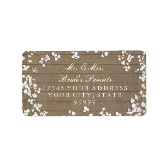 Return Mailing Address Baby's Breath Rustic Wooden Label