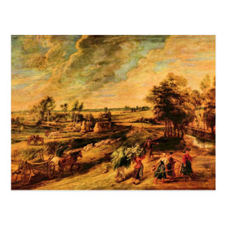 Return of the farmers from the field by Rubens Postcard