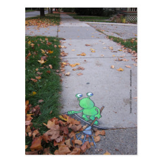 return of the lazy leaf-raker postcard