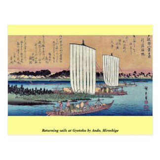 Returning sails at Gyotoku by Ando, Hiroshige Postcard