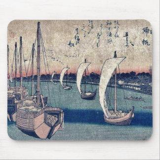 Returning sails at Takanawa by Ando, Hiroshige Mouse Pad