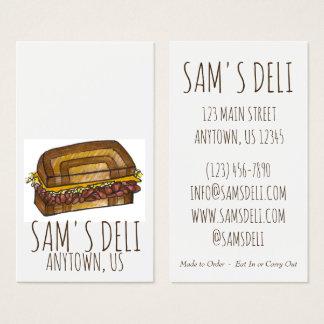 Reuben Sandwich Jewish Deli Food Restaurant Chef Business Card