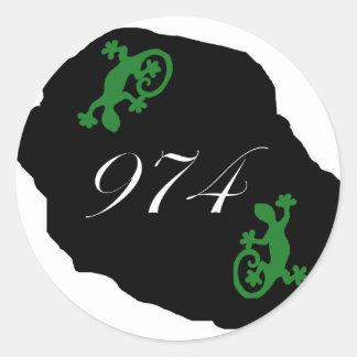 Réunion 974 - margouillat classic round sticker