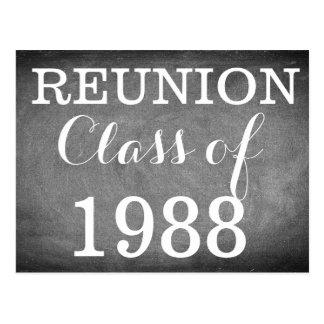 Reunion Handwriting Typography Black White Postcard