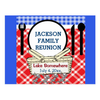 Reunion - Red, White & Blue Picnic or BBQ Postcard