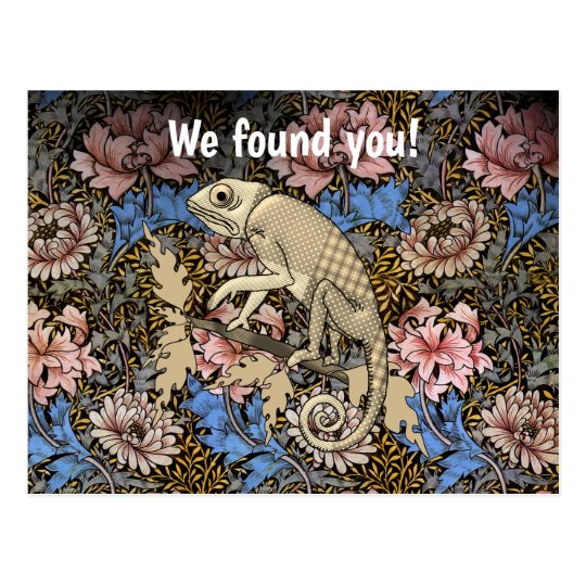 Reunion Save the Date with Chameleon Hiding Postcard