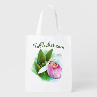 Reusable Bag - Pink Lady Slipper Baby Grocery Bags