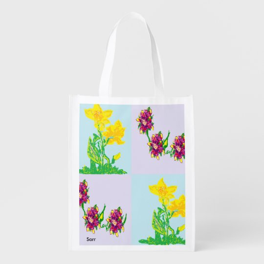Reusable Bag Spring Flowers Grocery Bags