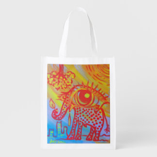 reusable bag with elephant image grocery bags