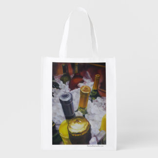 Reusable bag with wine on ice