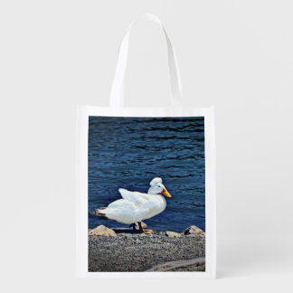 Reusable, fold up bag with white duck reusable grocery bags