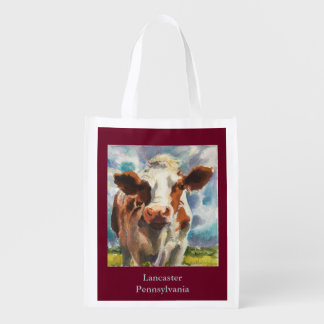 Reusable grocery bad with cow grocery bag