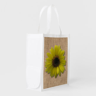 Reusable Grocery Bag - Burlap and Sunflower