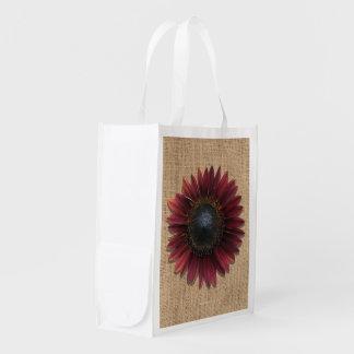 Reusable Grocery Bag - Burlap & Bordeaux Sunflower