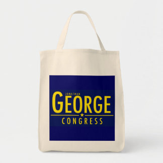 Reusable Grocery Bag or Tote with Yellow on Blue