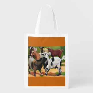 reusable grocery bag with goat party
