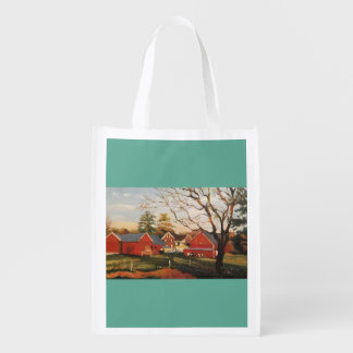 Reusable grocery bag with red barn cluster