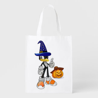 Reusable Halloween Treat Bags With Wizard Penguin Reusable Grocery Bags