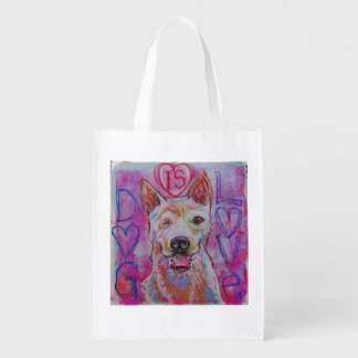 Reusable shopping bag with dog design grocery bags