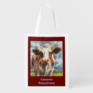 Reusable tote bag with cow reusable grocery bags