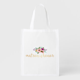 Reusable Tote - Floral matron of honor Market Tote