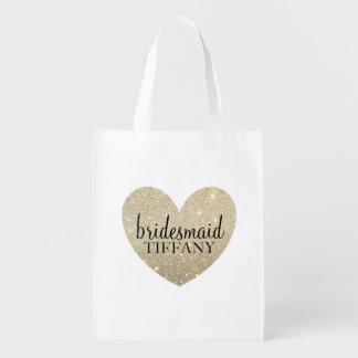 Reusable Tote - Glitter Heart Fab bridesmaid