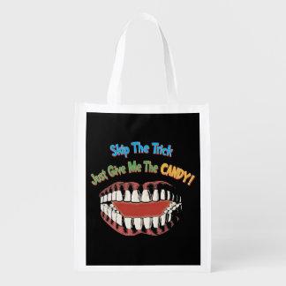 Reusablle Funny Halloween Treat Bag Reusable Grocery Bag