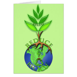 Reuse Reduce Recycle Tree Earth Globe Greeting Card