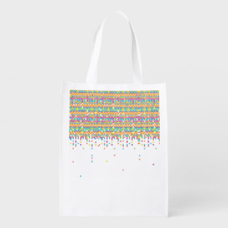 Reuseable Pixel Multi Coloured Print Reusable Grocery Bag