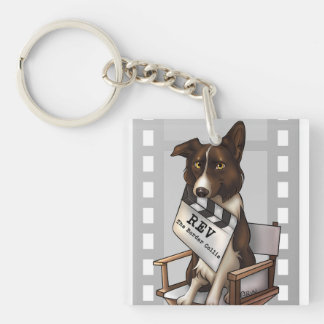 Rev the border collie keychain