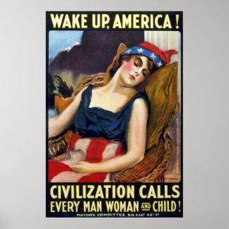 Réveillez l'Amérique ! Affiche vintage de Première