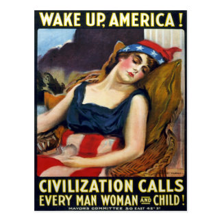 Réveillez l'Amérique ! Affiche vintage de Première Carte Postale