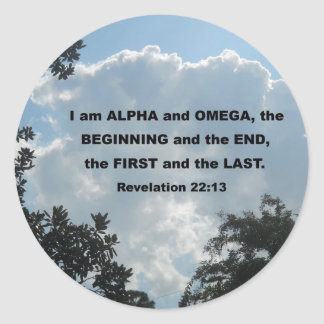 Revelation 22:13 I am Alpha and Omega... Classic Round Sticker
