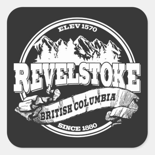 Revelstoke Old Circle Black Square Sticker