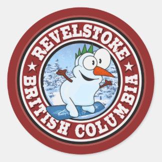 Revelstoke Snowman Circle Round Sticker