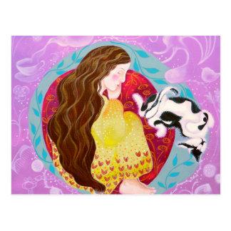 Rêver la femme et le chat carte postale