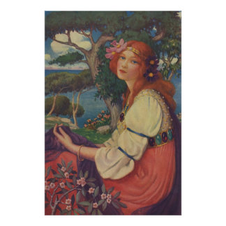 Reverie, 1908, Colorful Gypsy Girl Poster