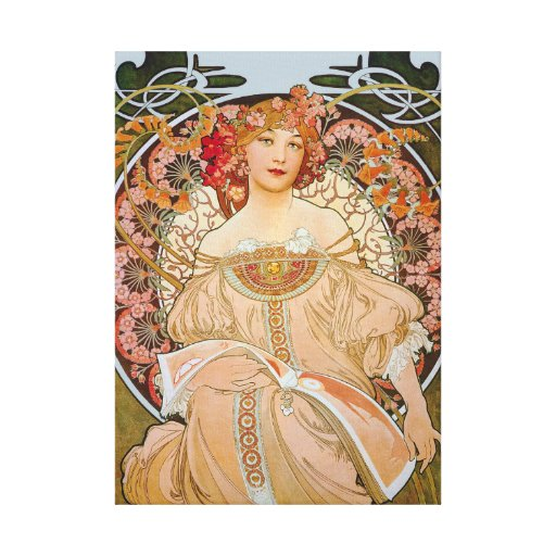 Reverie by Alphonse Mucha Gallery Wrap Canvas
